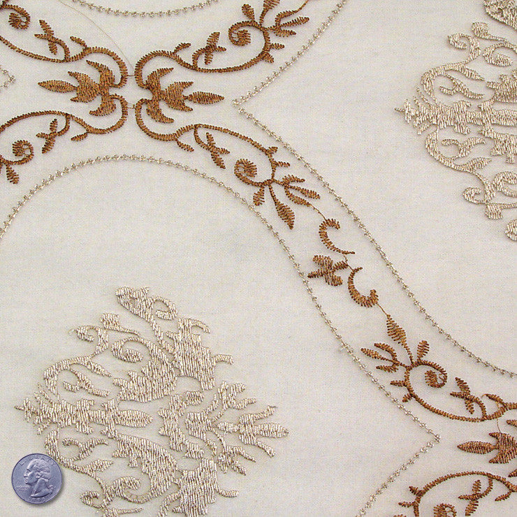 Polyester Embroidered Organza #2 Pewter Brown