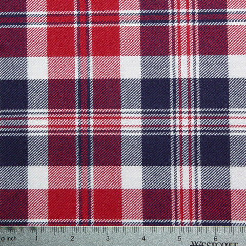 Wool Red White & Blue Plaid Plaid RWB 10978