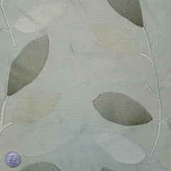Rayon Embroidered Leaves Jacquard Platinum