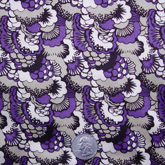 Silk Abstract Pansy Print Charmeuse Purple Black White Silver