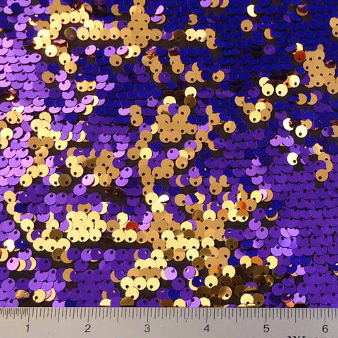 Sequin Spandex #1 Purple Gold on Black