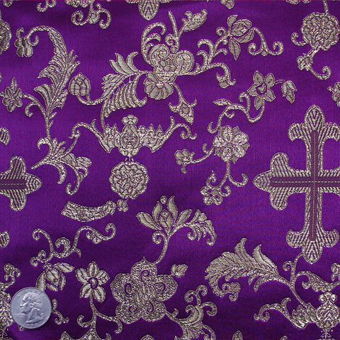 Silk Byzantine Brocade #1 Purple
