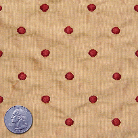 Silk Embroidered Dots Dupioni Red On Peach