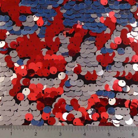 8mm Reversible Sequins Spandex Red Silver on Black - NY Fashion Center Fabrics