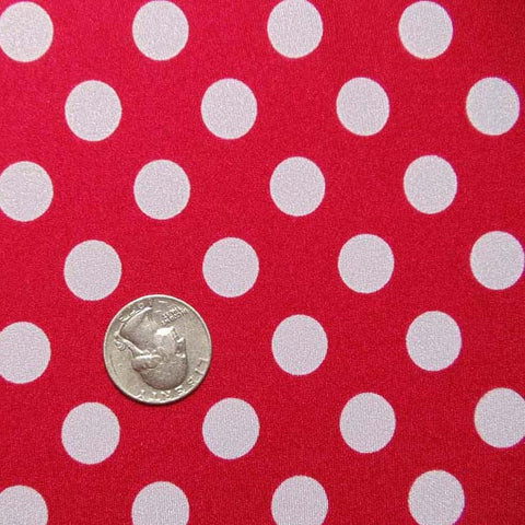 Polka Dot Print Spandex Red White