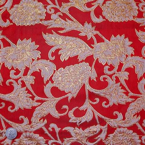 Floral Pop Brocade Red - NY Fashion Center Fabrics