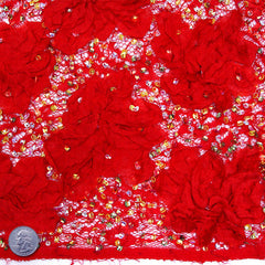 Ribbon Embroidered Lace w/ Beads Red