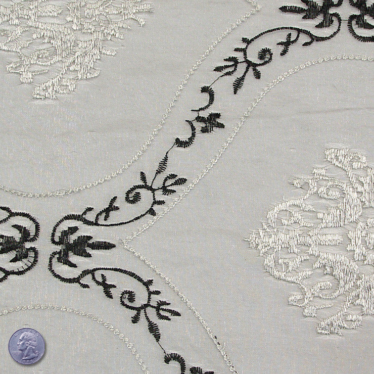 Polyester Embroidered Organza #2 Silver Black