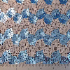 Circle Design Sequin Mesh Silver Blue - NY Fashion Center Fabrics