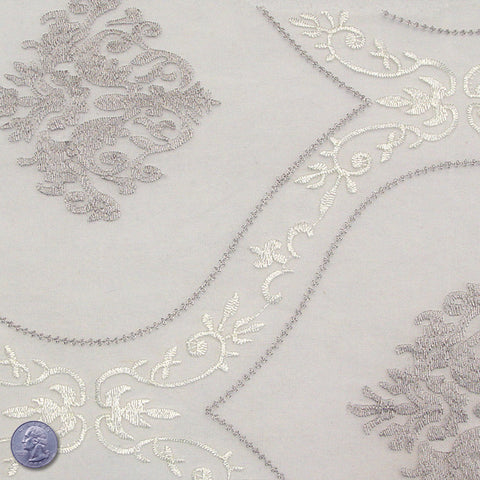 Polyester Embroidered Organza #2 Silver