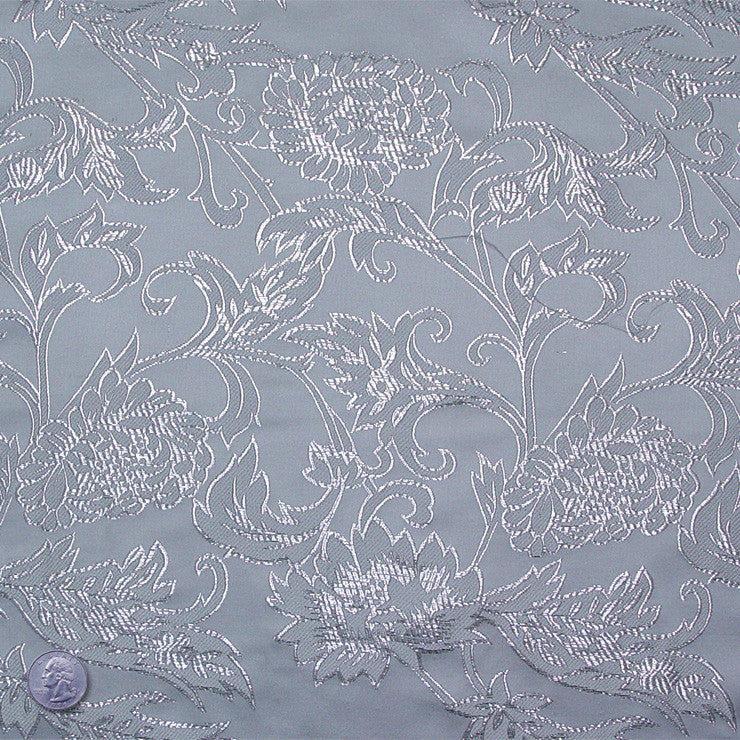 Floral Pop Brocade Silver - NY Fashion Center Fabrics
