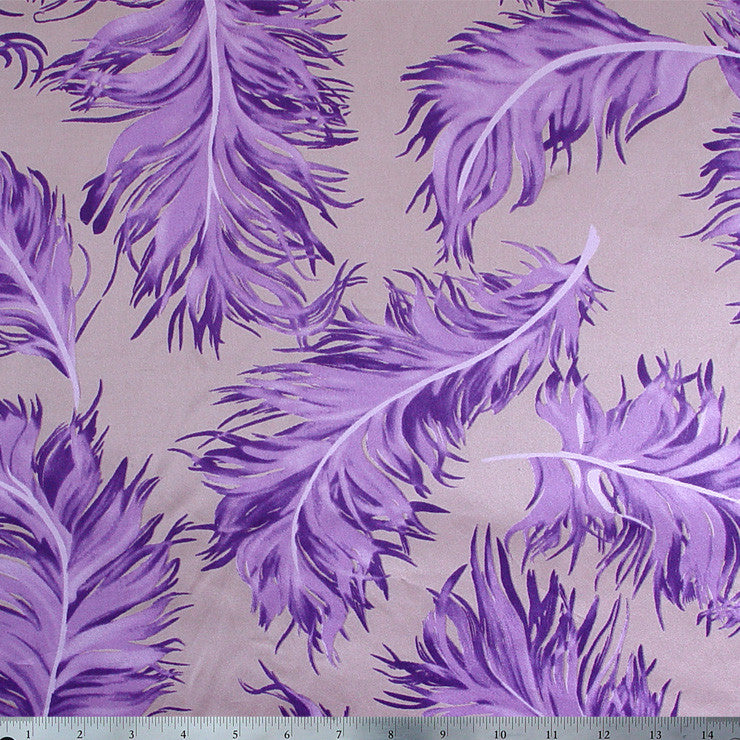 Silk Charmeuse Feather Print Tan Amethyst