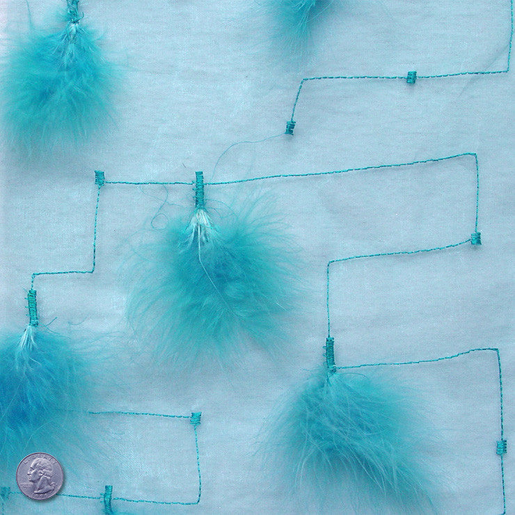 Polyester Embellished Feathers Organza Teal