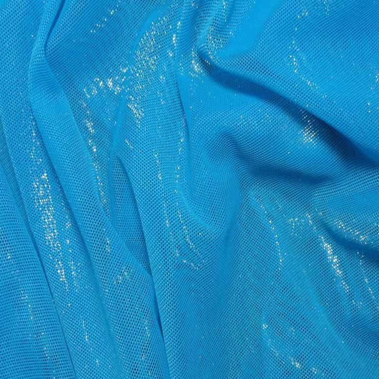 Nylon Metallic Stretch Mesh Turquoise - NY Fashion Center Fabrics