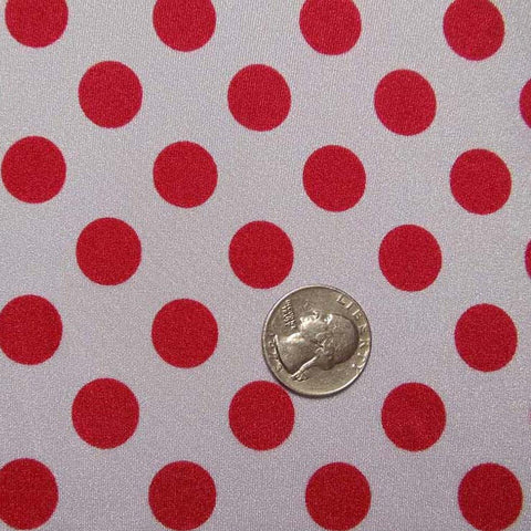 Polka Dot Print Spandex White Red