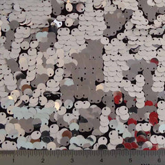 8mm Reversible Sequins Spandex White Silver on Black - NY Fashion Center Fabrics