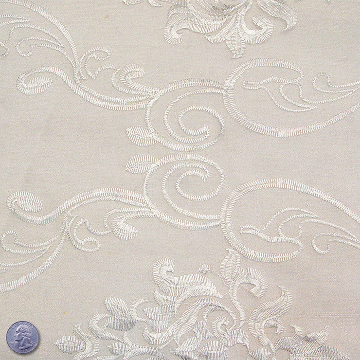 Polyester Embroidered Organza #1 White