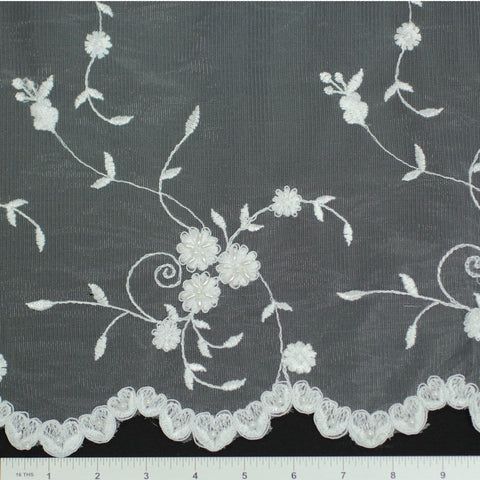 Double Scallop #84227BP White - NY Fashion Center Fabrics