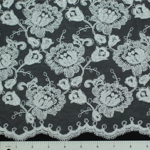 Double Scallop #84052W White - NY Fashion Center Fabrics
