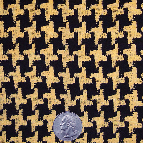 Silk Crepe de Chine Houndstooth Print Yellow On Black