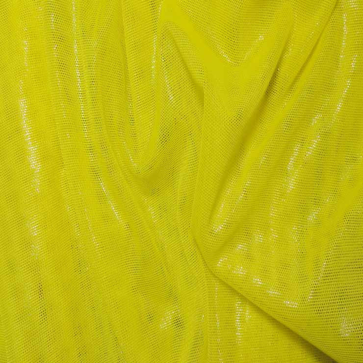 Nylon Metallic Stretch Mesh Yellow - NY Fashion Center Fabrics