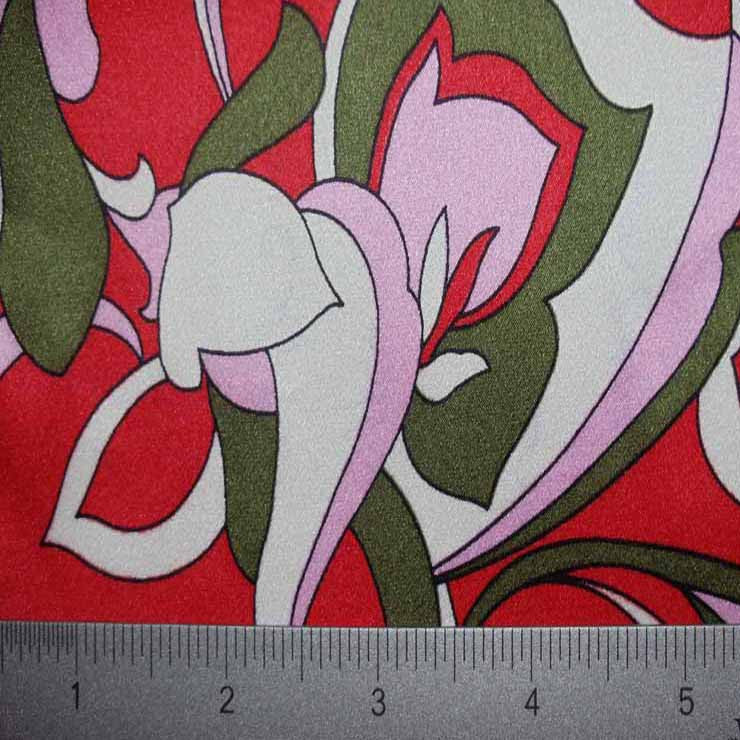 Silk Charmeuse Print Fabric #15 style2100 pattern10920coralredbackround1