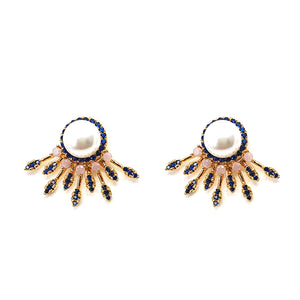 Pearl and Zirconia Stud Earrings