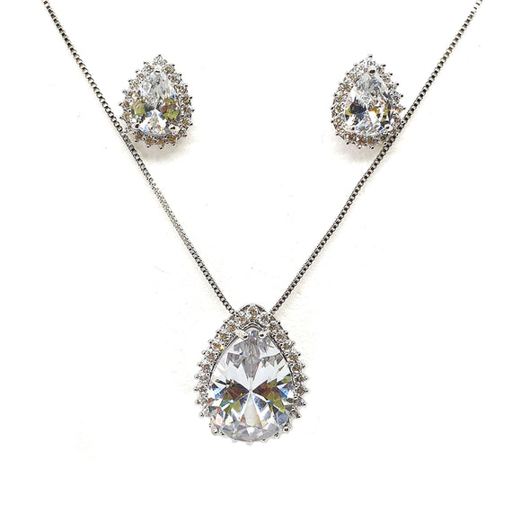 Crystal Pear drop Necklace and Earrings