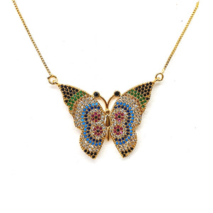 Coloured Butterfly Necklace