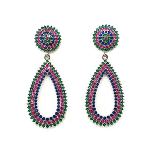Multi-color Zirconia Teardrop Hoop Earring