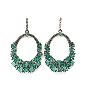 Emerald GemStone  Crystal Hoop Earrings