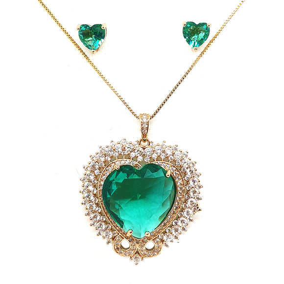 Gold Crystal heart necklace and earring sets