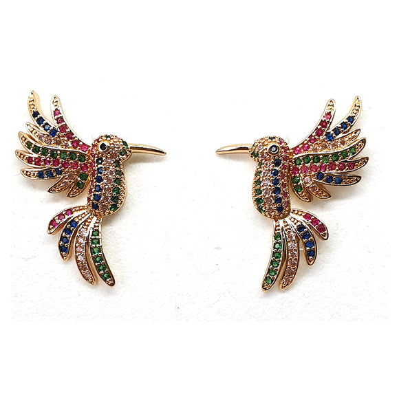 Multi-color Hummingbird Zirconia Earrings