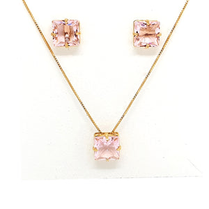 Square Divine Crystal Necklace and Earring Set
