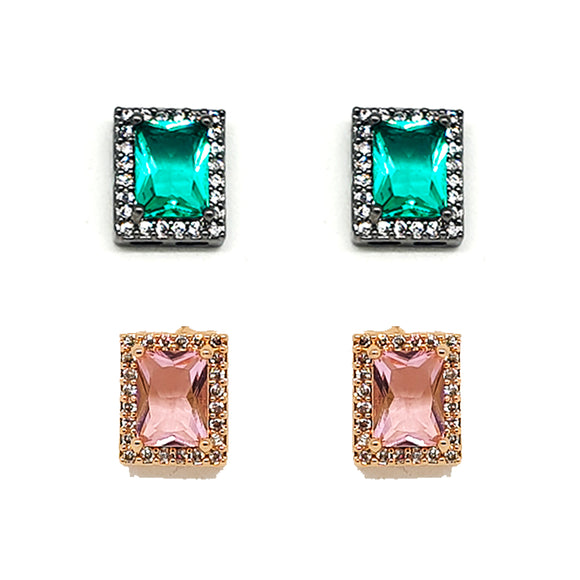 Small Rectangle Crystal and Zirconia Earrings