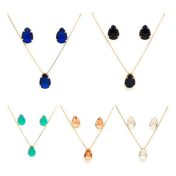 Crystal Pear Drop Shape Necklace and Earring Set