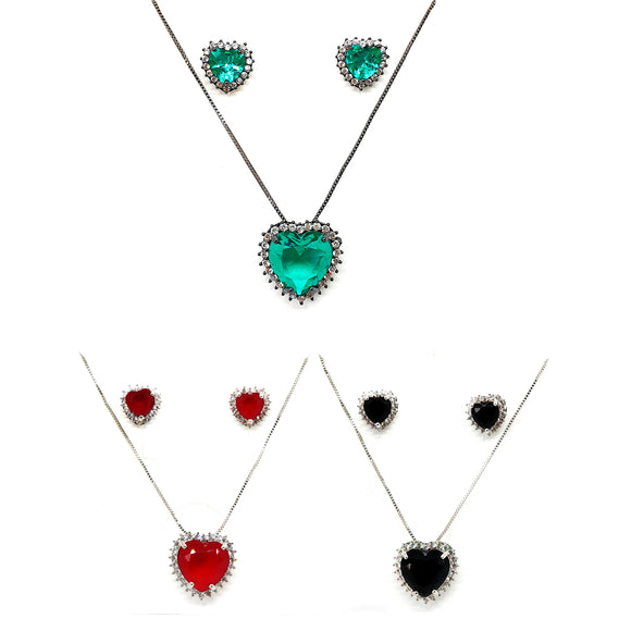 Heart Crystal Necklace and Earring Set