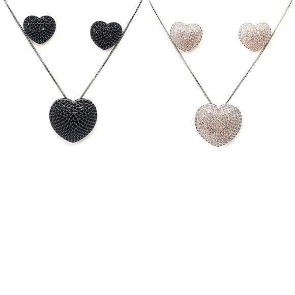 Cubic Zirconia Heart Shaped Necklace and Earring