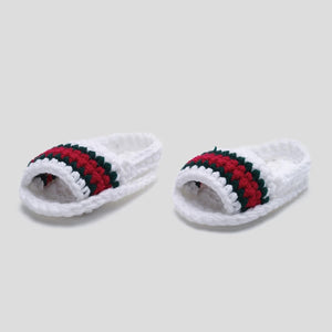 White Crochet Baby Slides
