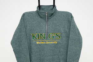 Quarter Zip Sweatshirt, Green Salt & Pepper