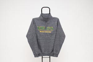 Quarter Zip Sweatshirt, Grey Salt & Pepper
