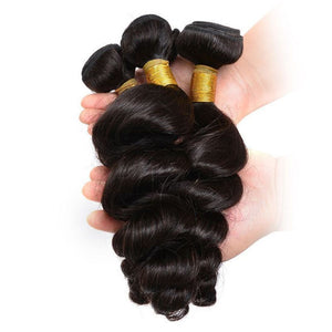 Queena Indian 4x4 Lace Closure With 4 Bundles Loose Wave Hair
