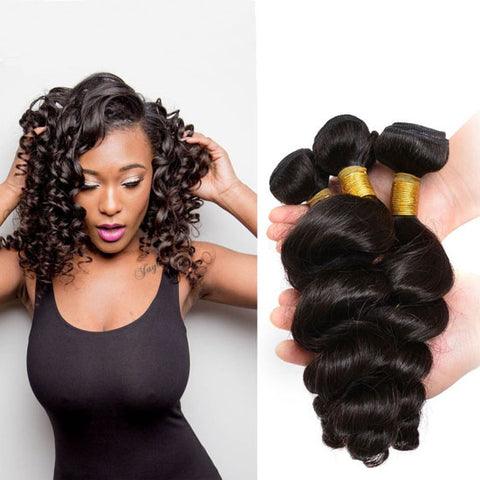 Image of Queena Malaysian Loose Wave Human Hair 3 Bundles With 4x4 Lace Closure