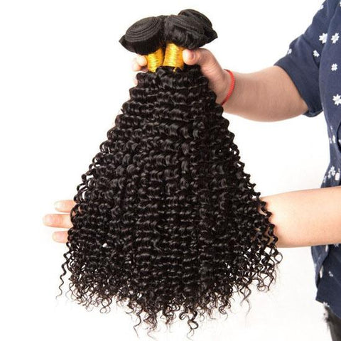 Image of Queena 3 Bundles Kinky Curly With Peruvian Frontal Closure Virgin Human Hair