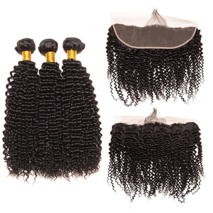 Queena 3 Bundles Kinky Curly With Peruvian Frontal Closure Virgin Human Hair