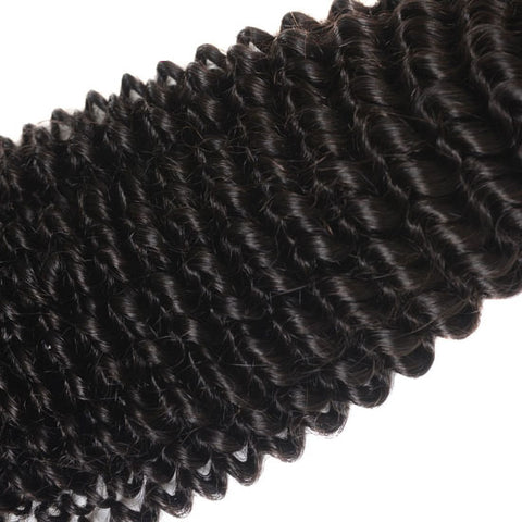 Image of Queena Kinky Curly Human Hair 3 Bundles With Peruvian 4x4 Transparent Lace Closure