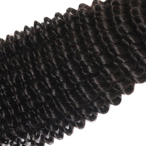 Queena Kinky Curly Human Hair 3 Bundles With Peruvian 4x4 Transparent Lace Closure