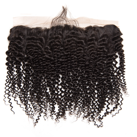 Queena Vietnam 3 Bundles Kinky Curly Human Hair With Ear To Ear 13x4 Transparent Lace Frontal
