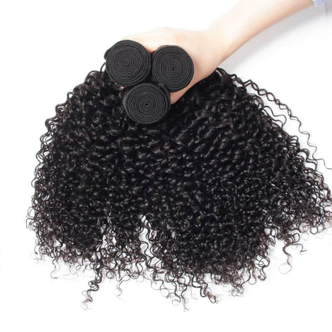 Image of Queena Brazilian Hair New Jerry Curly 3 Bundles With 13x4 Lace Frontal Closure