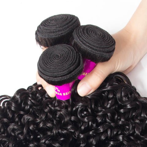 Image of Queena Freetress Malaysian Deep Curly Hair 3 Bundles With Lace Frontal Closure